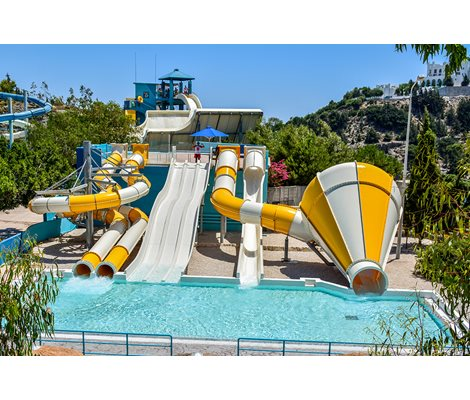 Kids slides, Mini black holes, mini kamikaze, mini crazy cone, mini multi slide in Waterpark Faliraki Rhodes