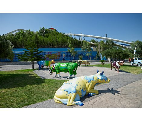 Decorative Cows in Waterpark Faliraki Rhodes