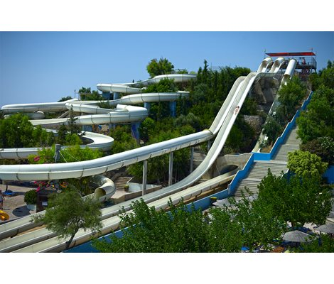 Kamikaze slide ,Turbo slide, Free fall slide, Rafting slide in Waterpark Faliraki Rhodes